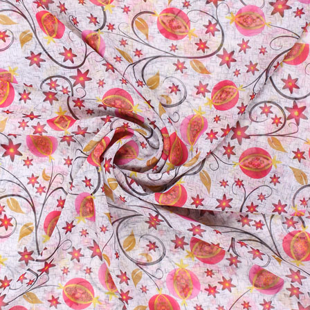 White Pink and Brown Georgette Silk Fabric-15091